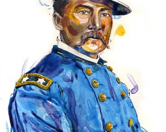 Watercolor historical portrait painting of Union Civil War General Philip Sheridan - giclee from original