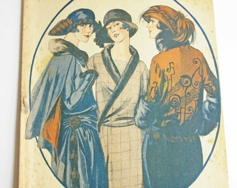 Vintage French Magazine Mode Pratique October 1923 1920's Fashion Sewing and Knitting Antique