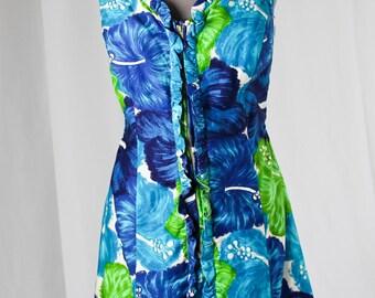 60-70s FLORAL Front-Zip MINI DRESS by Glenbrooke