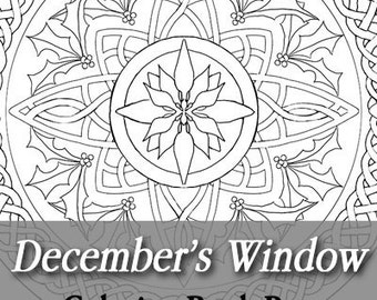 Printable Coloring Book Page for Adults - December Birth Flower Stained Glass Mandala with Holly and Narcissus in Art Nouveau Style Line Art