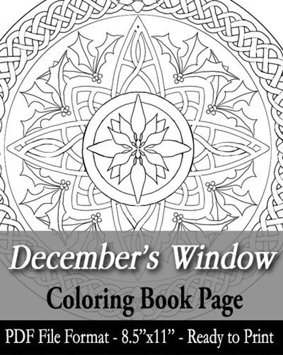 Printable coloring book page for adults december birth for December coloring page