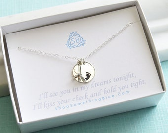 Miscarriage Necklace • Tiny Dragonfly with Baby Footprint • Infant Loss • Sympathy Gift • Lost Child • In Memory Of • Tiny Foot