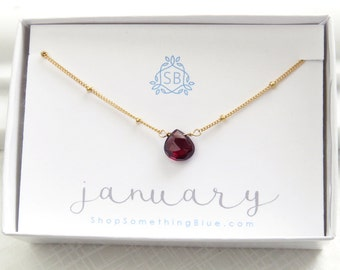 January Birthday Gift • Simple Garnet Necklace • Dotted Satellite Chain • Garnet Birthstone • Red Faceted Teardrop • Deep Red Gemstone