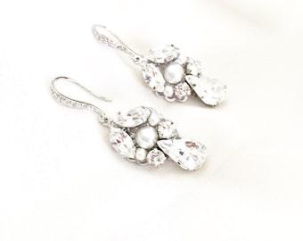 Pearl wedding earrings, Rhinestone Wedding Earrings, Swarovski Bridal Jewelry, handmade Bridal Earrings, couture bridal accessories