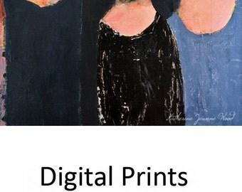 Three Sisters Portrait Painting Print. Three Women Digital Print. Little Sister Prints. Humorous Art Lovers Gift