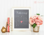 Custom Chalkboard Calendar Photo Prop | Wedding Date, Newborn Birth Date, Save the Date, Engagement Date | Photography Prop | Digital File