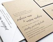 NEW Rebecca Modern Calligraphy Script Recycled Kraft Rustic Wedding Invitation Sample