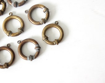 Set of Brass Curtain Ring Holders (Set of 8)