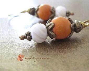 Orange White Earrings, Boho Earrings, Antique Brass, Vintage Beads, Carved Bone, Eclectic Jewelry, Fall Color, Autumn Harvest Pumpkin  E362