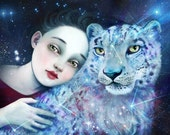Star Leopard and I| 8X10 | snow leopard painting, snow leopard art, nursery animal art, endangered species, totem animal magic| by Meluseena