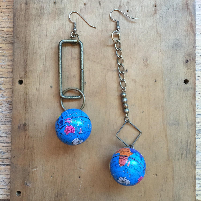 Globe Earrings // Hip Hop Jewelry // Unique Earrings // 90s