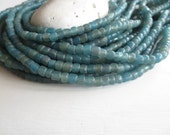 small  blue seed glass beads,  teal blue glass beads, Irregular spacer, barrel tube, Modern Indo-pacific  4 to 7mm / 22 in strand, 6a14-27