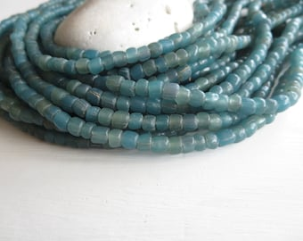 blue seed glass beads,  teal blue glass beads, small Irregular spacer, barrel tube, New Indo-pacific  4 to 7mm / 22 in strand, 6a14-27