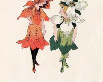 Vintage 1912 The Flower Children  Illustration Print w Verse, M T  Ross Illustration, Trillium & Tiger Lily,  Original Print, Nursery Decor