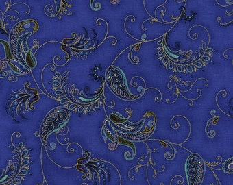 Paisley Feathers Blue Royalty Timeless Treasures Fabric 1 yard