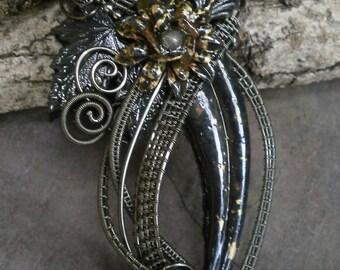 Gothic Steampunk Dark Botanical Pin Pendant Brooch