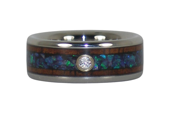 Hawaiian Koa Wood Rare Opal Diamond Ring