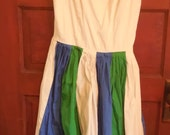 Vintage 70's Spaghetti Strap Sundress Green Blue and White Size 6 Altered Clothing Steampunk