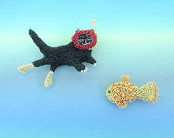 Cat jewelry - snorkeling cat and fish brooch set, fishing cat, humorous fun jewelry, unique animal brooches, sea theme