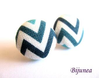 Stripe earrings - Blue stripe stud earrings - White stripes posts - Baby blue stripes post earrings sf1326