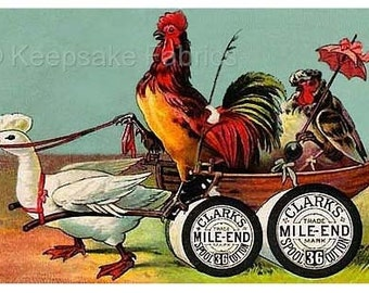 Duck Carts Rooster Miles End Reproduction Fabric Crazy Quilt Block Free Shipping World Wide