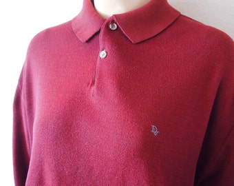PRIM // Vintage 80s Christian Dior Polo Shirt Burgundy Pullover Preppy Yuppie 1980s Clothing Collared Shirt Golf Unisex Large