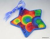 Rainbow Star Ornament in Polymer Clay Filigree