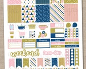 Instant Download Weekly Planner Stickers Printable PDF in Pink Gold and Blue with Checklists Washi Icons