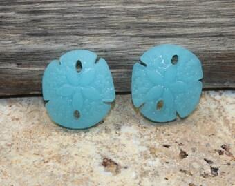 Sea Glass Small Sand Dollar Charm Beach Glass Lt Blue 21x19mm {2pcs} B14