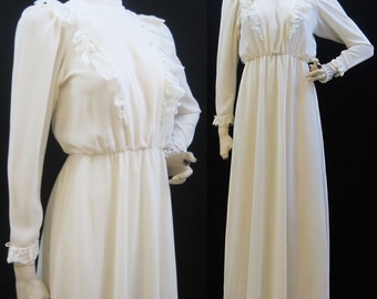 Vintage 80s Dress Victorian inspired Lace Crepe Wedding Gown Evening S