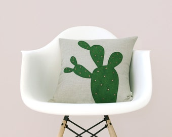 Cactus Pillow Cover with Metallic Copper Studs, Prickly Pear, Decorative Pillows by JillianReneDecor, Hollywood Botanical, Boho Desert Chic