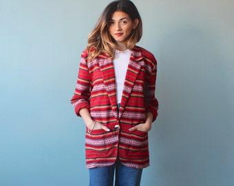 tribal jacket / ethnic print blazer / 1980s / small - medium