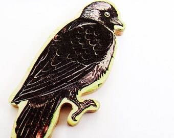 1960s Jackdaw Brooch - Pin / Unique Gift Under 50 / Upcycled Vintage Hand Cut Wood Jewelry / Black Feathers Wood Bird Brooch & Name Pin