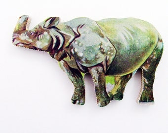 1960s Rhinoceros Brooch - Pin / Unique Gift Under 50 / Upcycled Vintage Hand Cut Wood Jewelry / Green Wood Jungle Rhino Animal