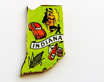1960s Indiana Brooch - Pin / Unique Wearable History Gift Idea / Upcycled Vintage Hand Cut Wood Jewelry / Timeless Gift Under 25