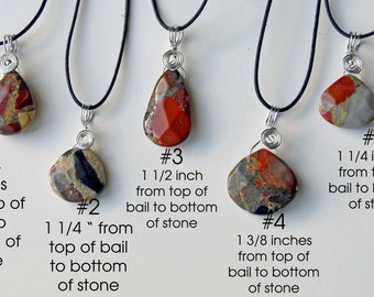 Genuine Puddingstone faceted pendant necklace from Michigan silver wire wrapped handcrafted