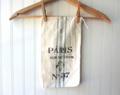 Paris feedsack vintage sugar sack bag Hand stamped and stenciled 12 x 7 cotton gift bag No 37 French Farmhouse