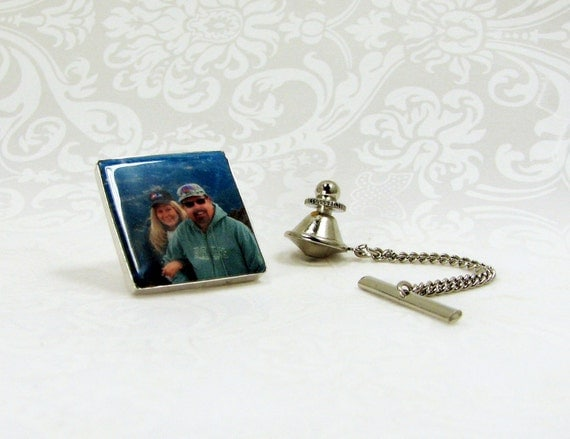 Tie Tack with chain, Personalized Silver Framed Photo Tile - PT3a