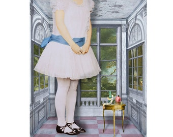 Alice in Wonderland Drink Me Print Digital Art Blue Grey Pink Blue Surreal Home Decor Lewis Carroll