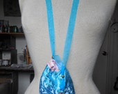 "Reversible Pink Rosebud Satin Turquoise Blue Brocade Necklace Pouch Medium Size 11.5 x 11.5 cm. (4 1/2"" x 4 1/2"") OlyTeam"