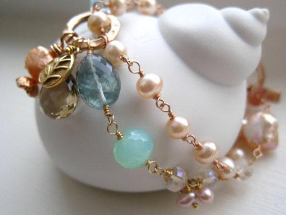 Rose Gold Vermeil and Gemstone Charm Bracelet