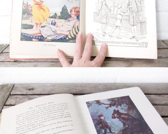 Vintage Childrens Books - Set of 3 Illustrated Childrens Story Books - Wayeeses, The White Wolf - Play and Fun - The Arkansaw Bear -