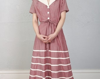 SALE- 1940s Pink Cotton Dress