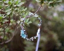 flower girl headpiece, aqua bridal hair piece, flower girl headband, floral circlet, teal flower crown, mint headband, mint wedding halo