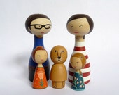 Custom Family Portrait Wood of 5 Dolls children - FREE SHIPPING Personalized - Wooden father mother family