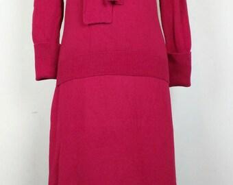 Vintage Magenta  Pink 100% Cashmere Sweater Skirt Set M
