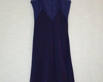 Alida Navy Blue Full Slip - Bur Mil Rayon Bias Cut Slip - Fits Small - 1940s Alida Full Slip - Bur Mil Rayon Fabric