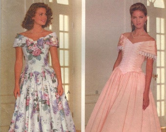 1990s Butterick 5265 UNCUT Vintage Sewing Pattern Misses Formal Dress, Evening Gown Size 6 - 8 - 10 - 12