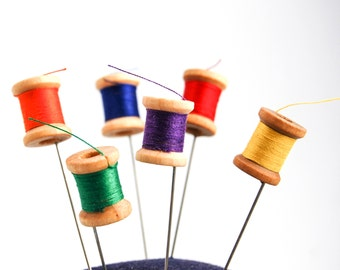 Sewing Thread Spool Pin Topper Set of 6 Vintage look