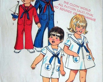 Vintage 70's Simplicity 9947 Sewing Pattern, Toddlers' Bell-Bottom Jumpsuit in Two Lengths and Dress, Sailor Collar, Size 1